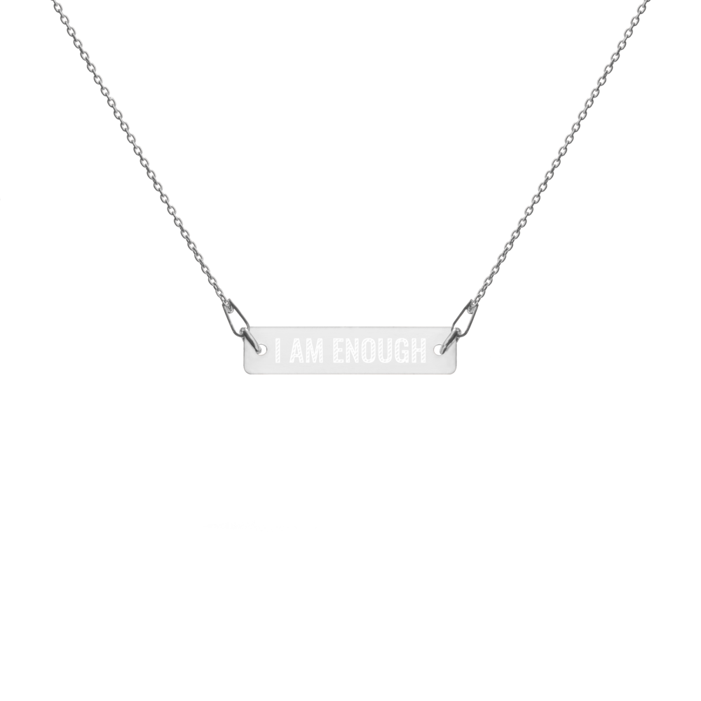 'I Am Enough' Engraved Silver Bar Chain Necklace (4 Finishes) | White Rhodium, 24k Gold, 18k Rose Gold, Black Rhodium - Bar Jewellery - KryptikRose®