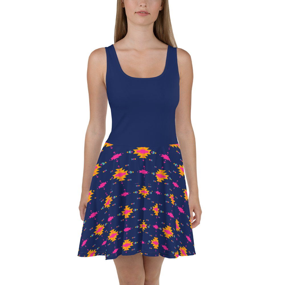 'Navy Aztec' Skater Dress -  - KryptikRose®