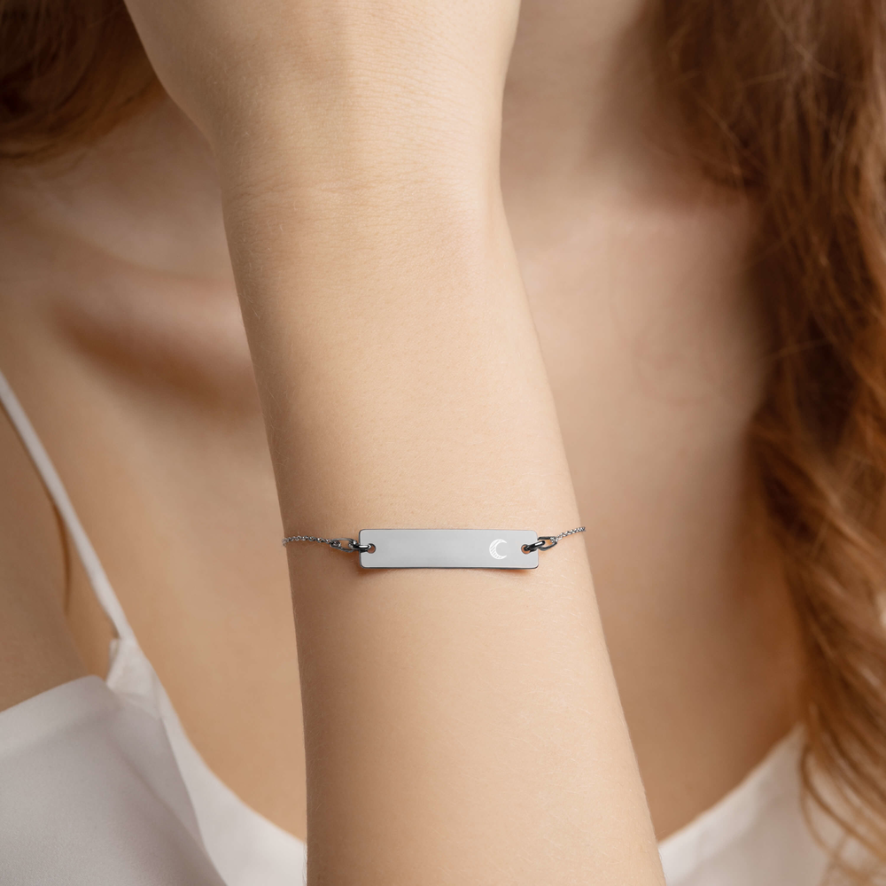 """Crescent"" Engraved Silver Bar Chain Bracelet (4 Finishes) - Bar Jewellery - KryptikRose®"