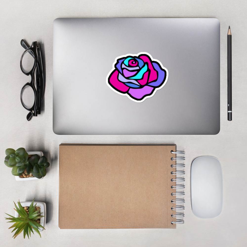 """Multi-Coloured Solitary KR Rose"" (3 Sizes) Bubble-Free Stickers -  - KryptikRose®"