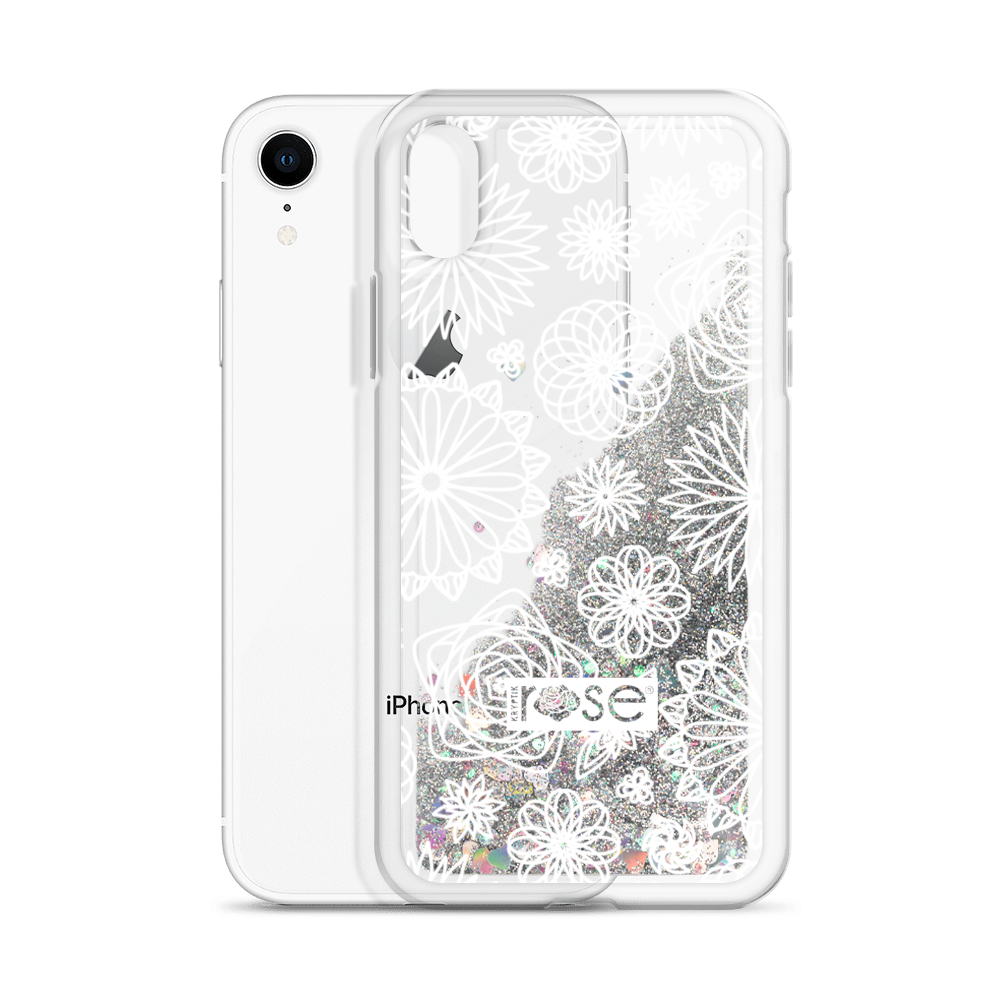 'Mini Floral Mandalas' Liquid Glitter Phone Case (3 Glitter Colours) -  - KryptikRose®