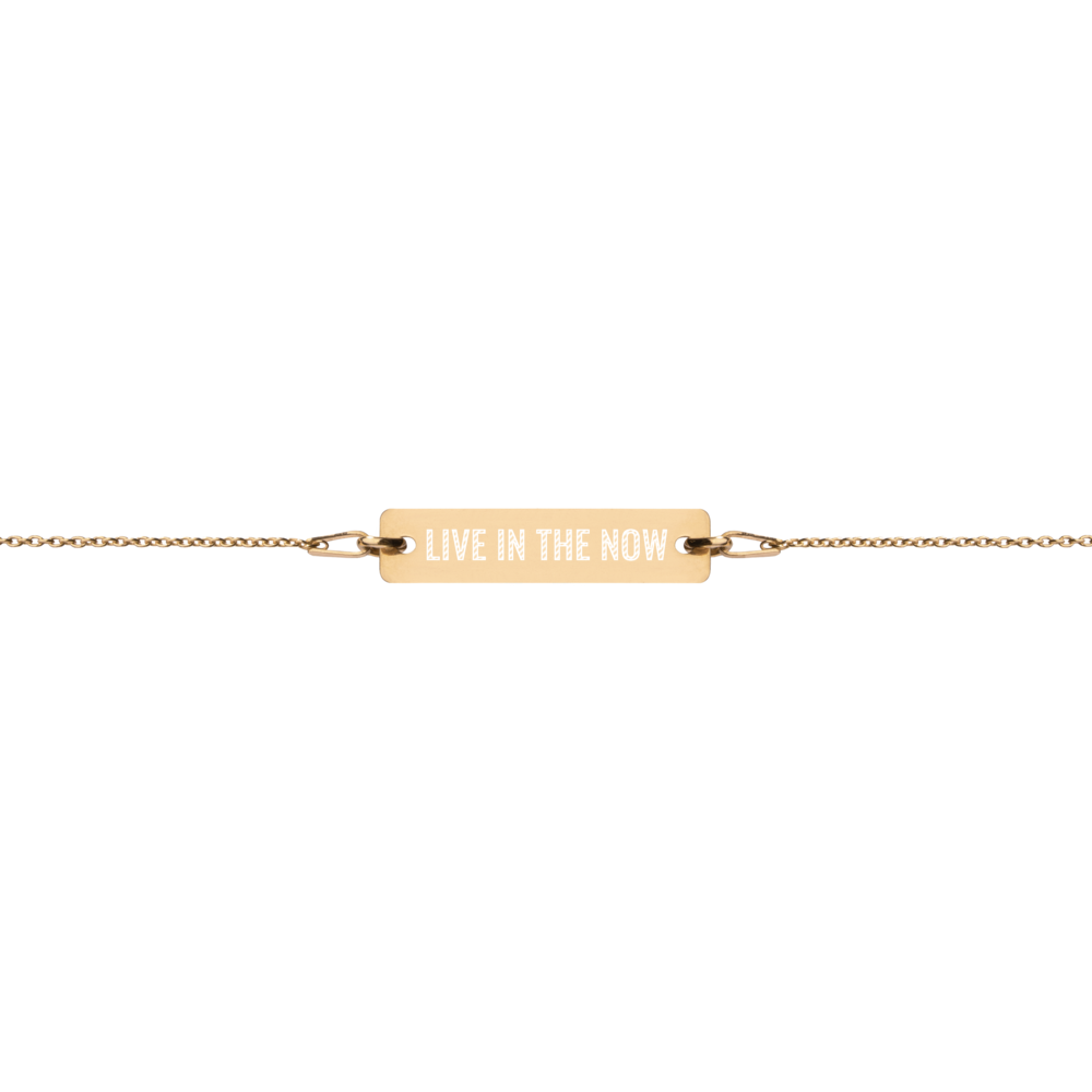 'Live In The Now' Engraved Silver Bar Chain Bracelet (4 Finishes) - Bar Jewellery - KryptikRose®