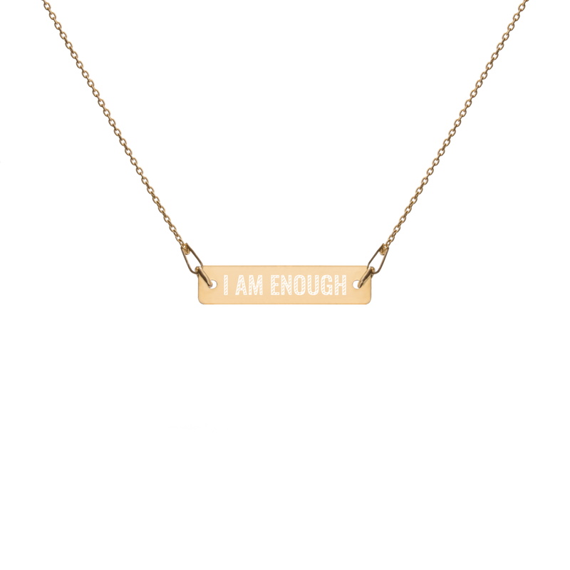 'I Am Enough' Engraved Silver Bar Chain Necklace (4 Finishes) - Bar Jewellery - KryptikRose®