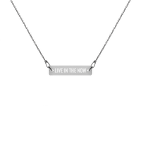 'Live In The Now' Engraved Silver Bar Chain Necklace (4 Finishes) - Bar Jewellery - KryptikRose®