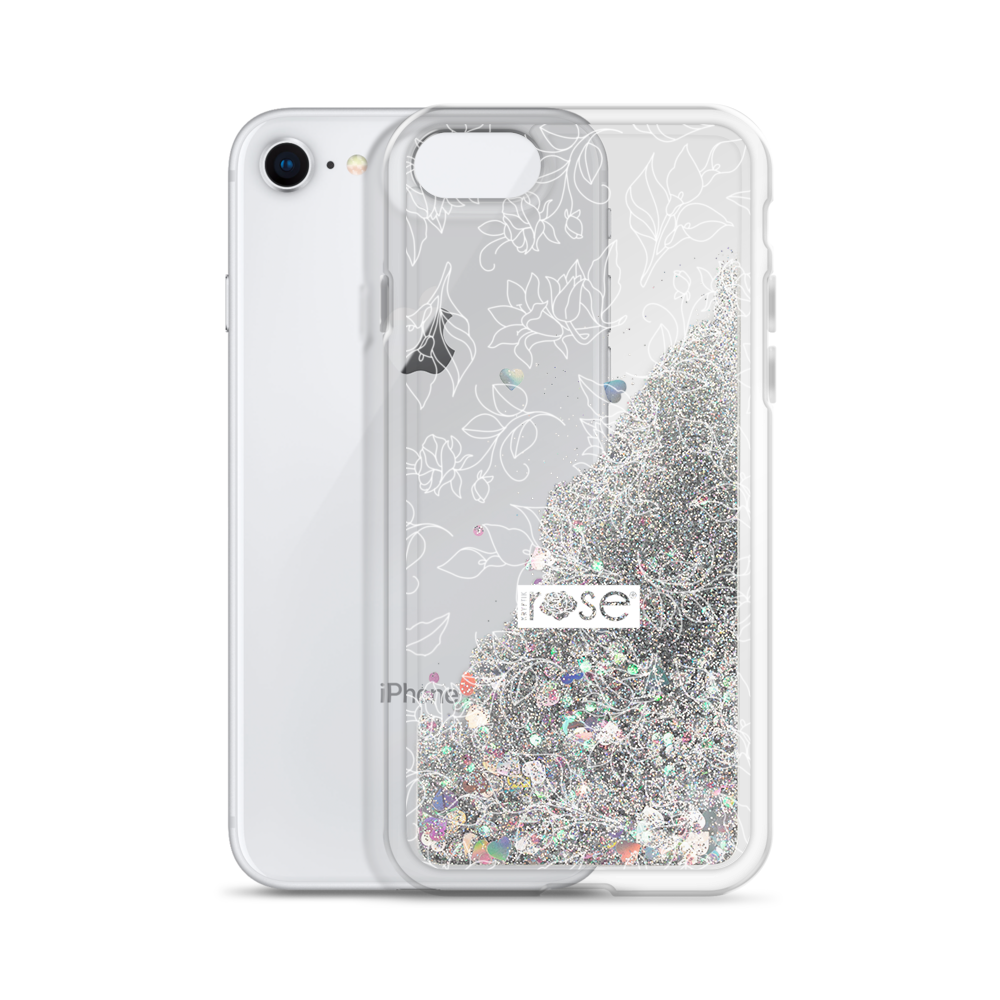 'Delicate Floral' Liquid Glitter iPhone Case  (3 Glitter Colours) -  - KryptikRose®
