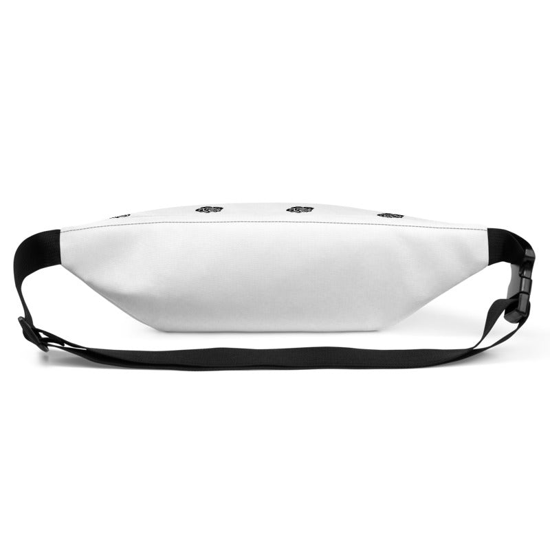 KryptikRose® Ascending Stripe White & Black with Rose Print Fanny Pack -  - KryptikRose®
