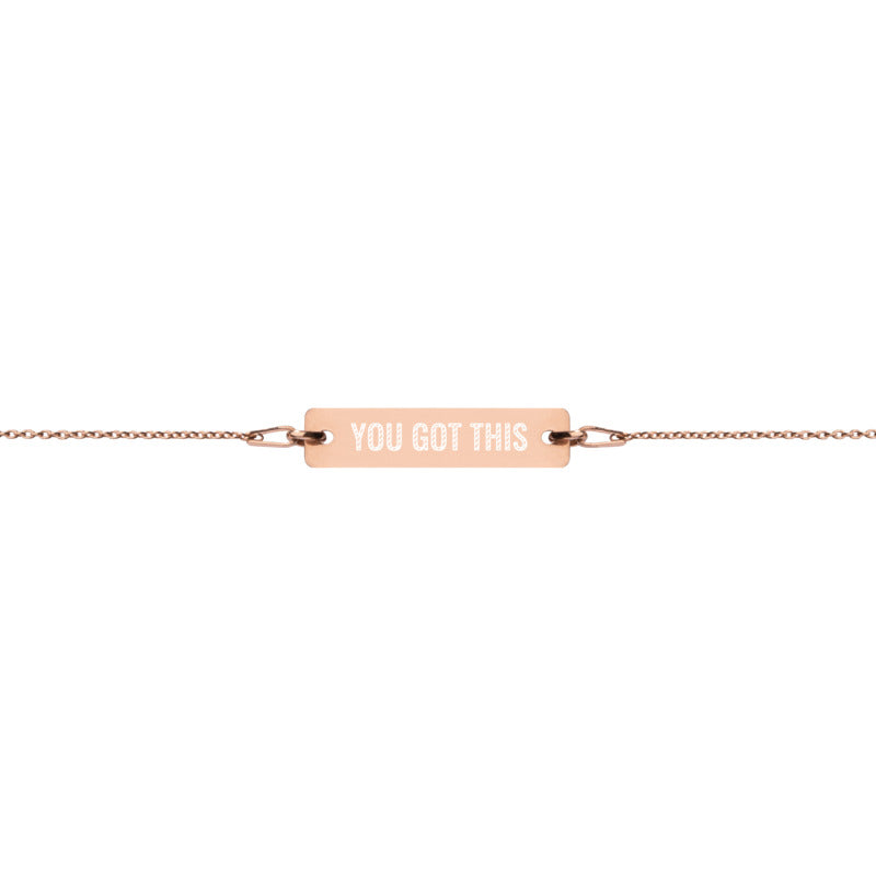 'You Got This' Engraved Silver Bar Chain Bracelet (4 Finishes) | White Rhodium, 24k Gold, 18k Rose Gold, Black Rhodium - Bar Jewellery - KryptikRose®