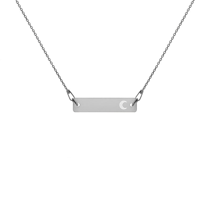 """Crescent"" Engraved Silver Bar Chain Necklace (4 Finishes) - KryptikRose®"