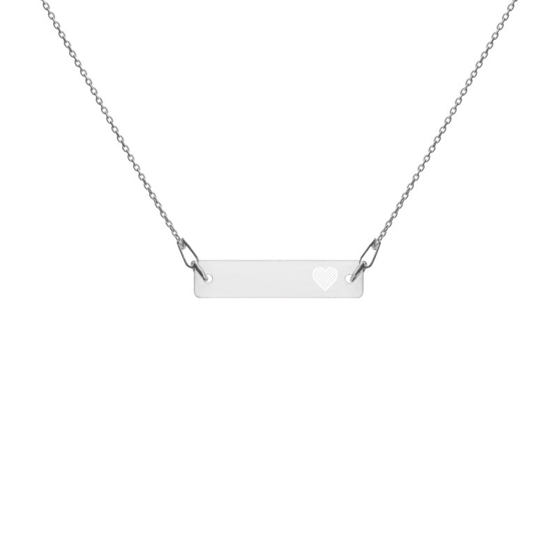 'Heart' (Self-Love) Engraved Silver Bar Chain Necklace (4 Finishes) - KryptikRose®