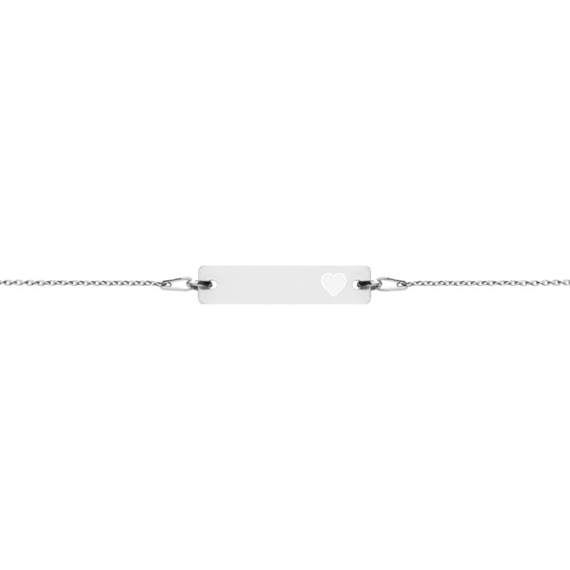 'Heart' (Self-Love) Engraved Silver Bar Chain Bracelet (4 Finishes) - Bar Jewellery - KryptikRose®