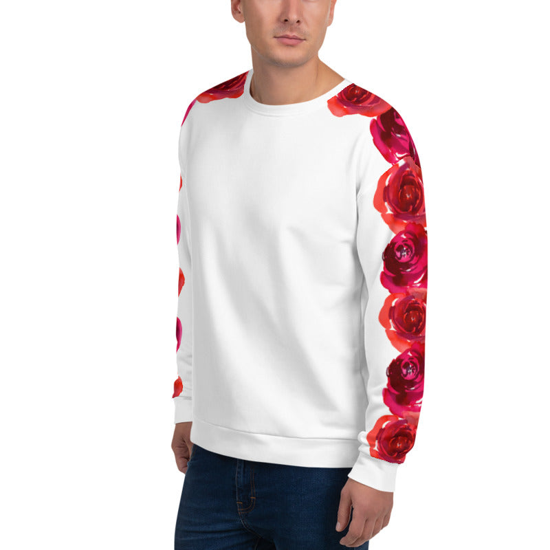 'Our Roses on Your Sleeve' White Unisex Sweatshirt - KryptikRose®
