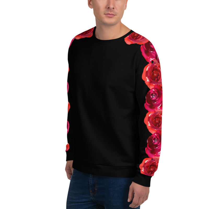 'Our Roses on Your Sleeve' Black Unisex Sweatshirt -  - KryptikRose®