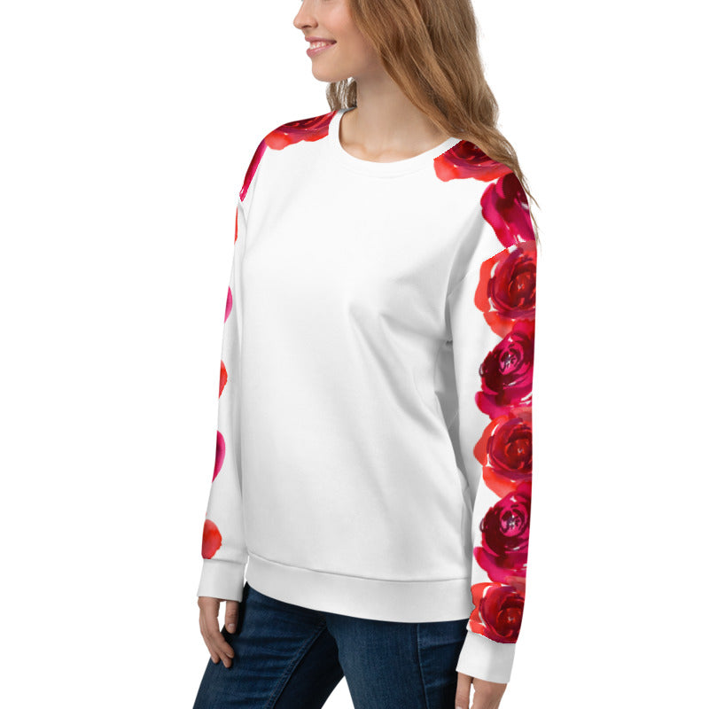 'Our Roses on Your Sleeve' White Unisex Sweatshirt -  - KryptikRose®