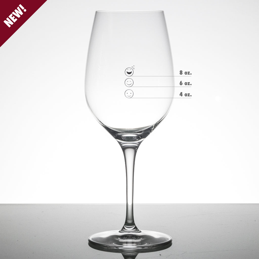 Happy Emoji Measuring Wine Glass with Measuring Marks