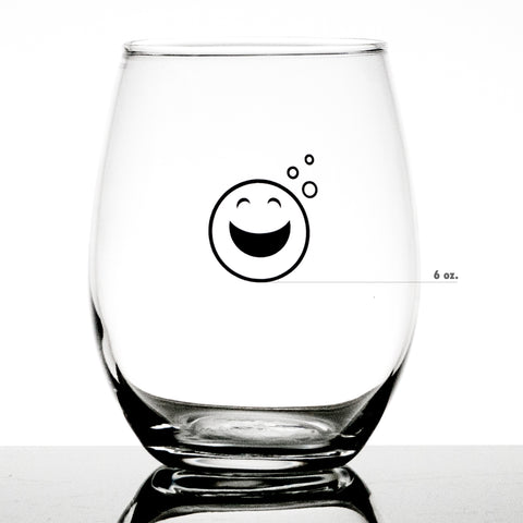 Smiley Face Emoji Stemless Measuring Wine Glass - Sets of 2, 4, and 6 ounces (16.25 ounces)