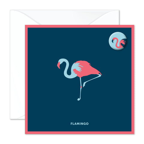 Flamingo badge card