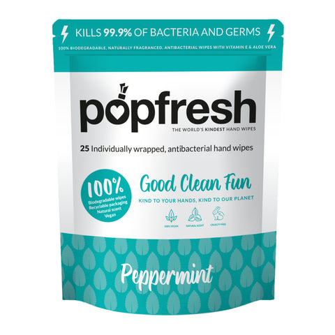 Peppermint scented Popfresh hand wipes 25 pack – antibacterial and biodegradable with vitamin E and aloe vera