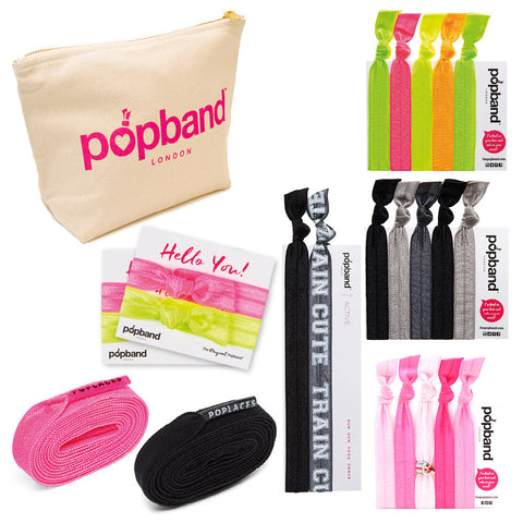 Gym Bag Essentials | Popband Hair Band, Headband, Poplaces Shoe Laces & Beauty Bag Set