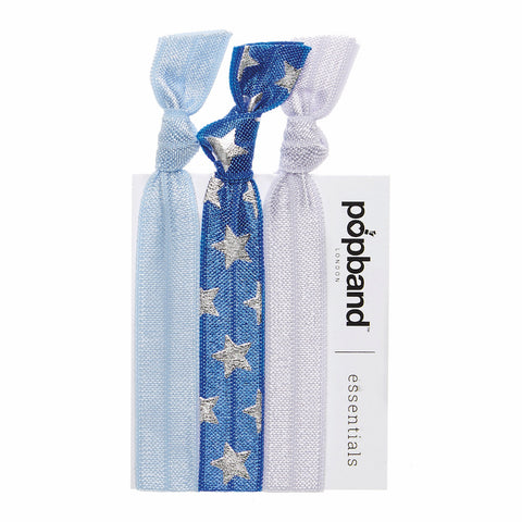 Cheerleader | Popband Essentials Hair Bands | Blue & Silver Star Print Hair Ties