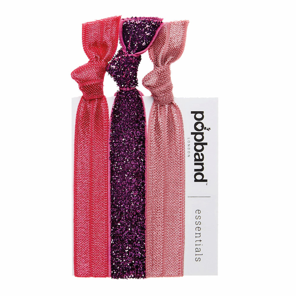 Glitterball Pink | Popband Essentials Hair Bands | Pink & Pink Glitter Hair Ties