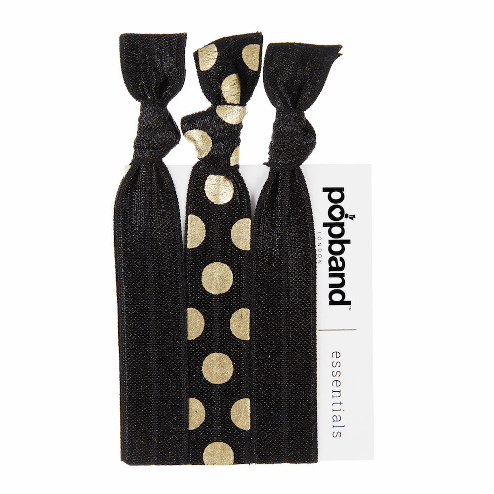 Gold Dust | Popband Essentials Hair Bands | Black & Gold Polka Dot Print Hair Ties