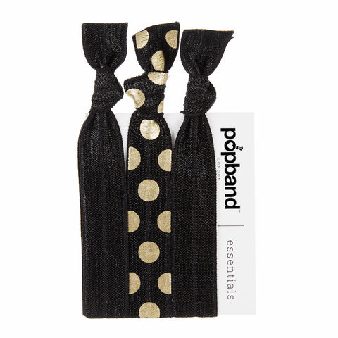Gold Dust Popband Essentials | Black & Gold Polka Dot Print Hair Bands