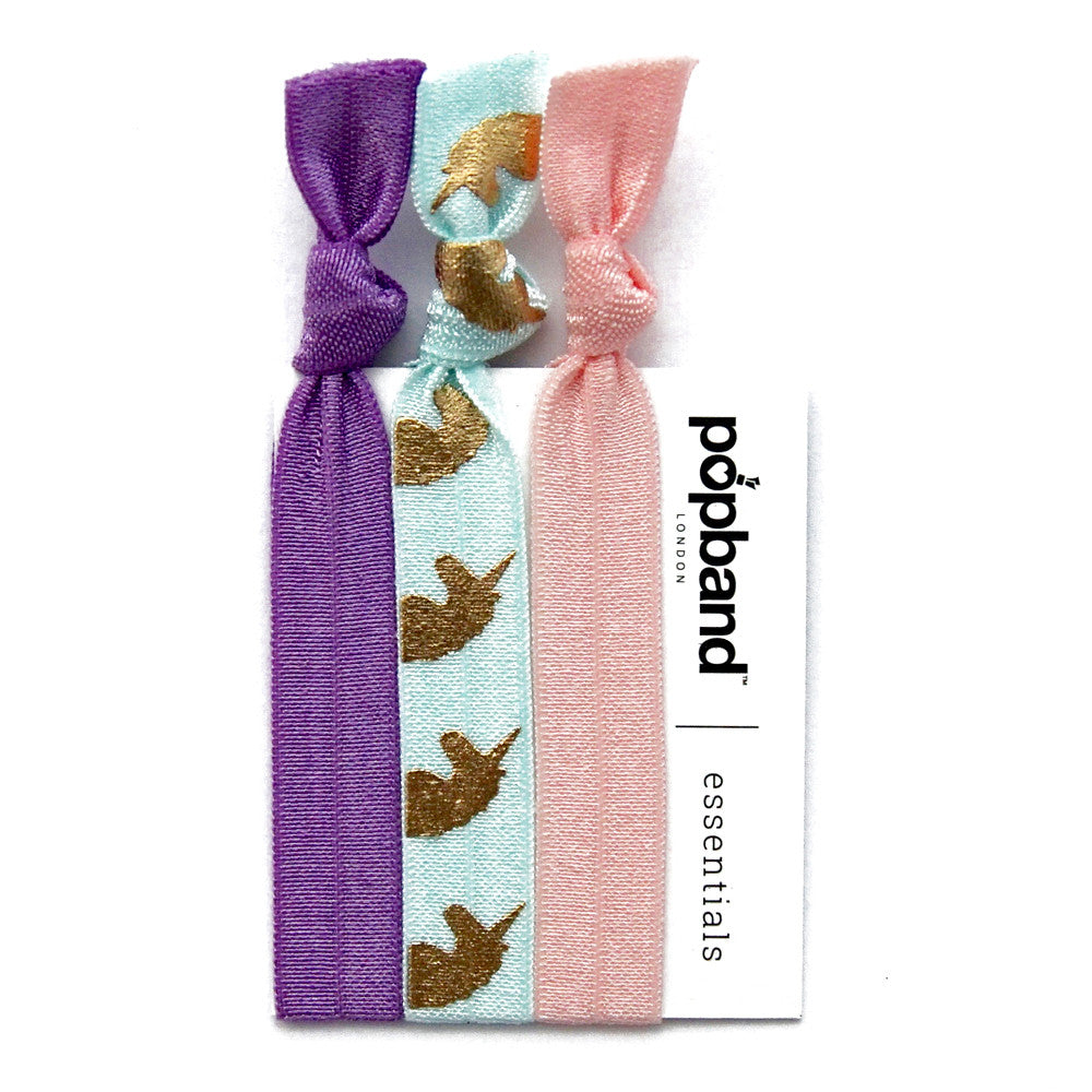 Mauve Unicorn | Popband Essentials Hair Bands | Purple, Pale Pink, and Turquoise Hair Ties with Gold Unicorn Print