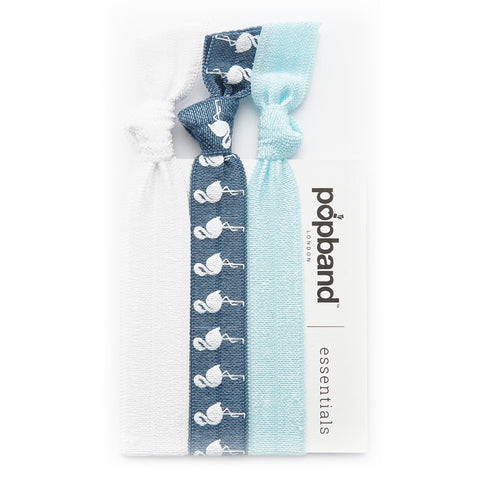 Blue Flamingo Popband Essentials | Blue Hair Bands with Printed White Flamingoes