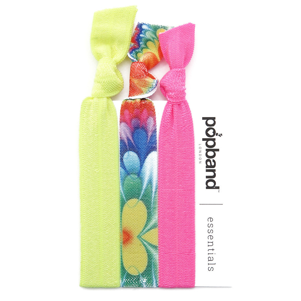 Woodstock | Popband Essentials Hair Bands | Yellow & Pink Hair Ties with Psychedelic Floral Print