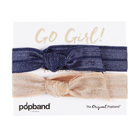 Go Girl Popband Gift Pack | Navy Blue & Beige Hair Bands