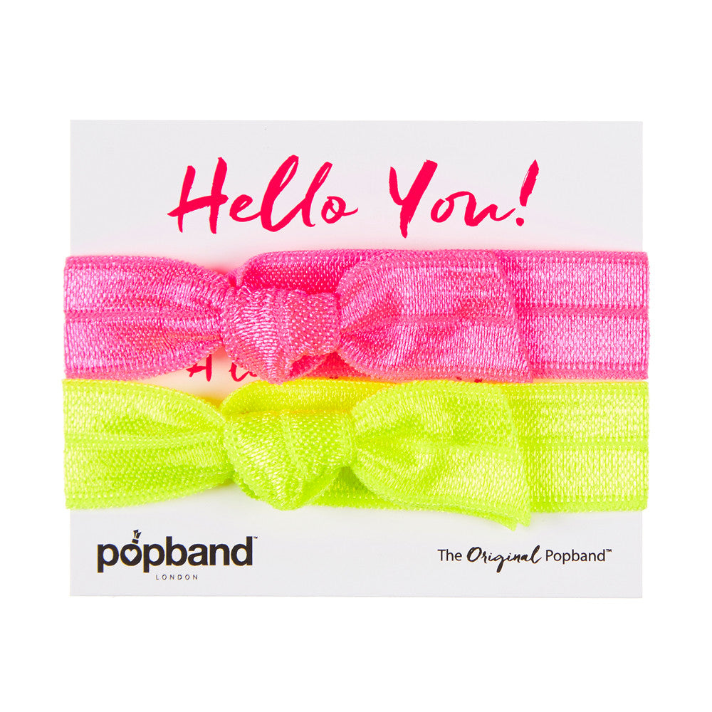 Hello You Popband Gift Pack | Neon Pink & Neon Green Hair Bands