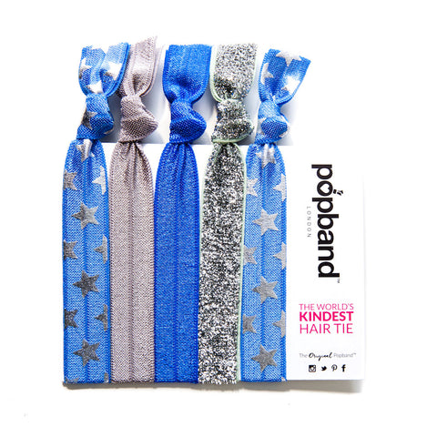 Cheerleader | Printed Popband Hair Bands | Blue, Silver & Grey Glitter Star Print Hair Ties
