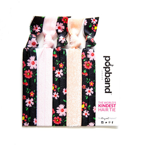 Cherry Blossom | Printed Popband Hair Bands | Pink & Dark Grey Floral Print Hair Ties