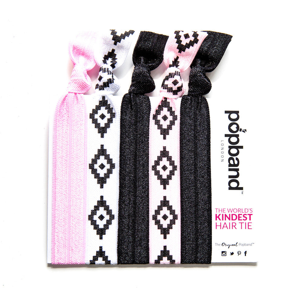 Cilla | Printed Popband Hair Bands | Pink, White & Black Diamond Print Hair Ties
