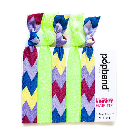 Mambo | Printed Popband Hair Bands | Neon Green, Purple & Navy Blue ZigZag Print Hair Ties