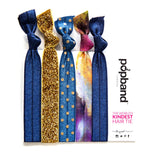 Stardust | Printed Popband Hair Bands | Navy Blue & Gold Glitter Hair Ties with Polka Dot & Tie Dye Prints