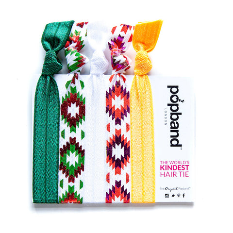 Tannenbaum | Printed Popband Hair Bands | Green, Orange & White Festive Print Hair Ties
