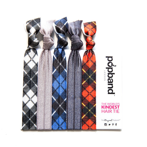 Tartan | Printed Popband Hair Bands | Red, Blue & White Tartan Print Hair Ties