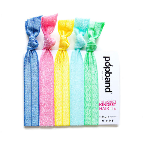 Tutti Frutti | Printed Popband Hair Bands | Pastel Blue, Pink, Yellow & Green Glitter Hair Ties