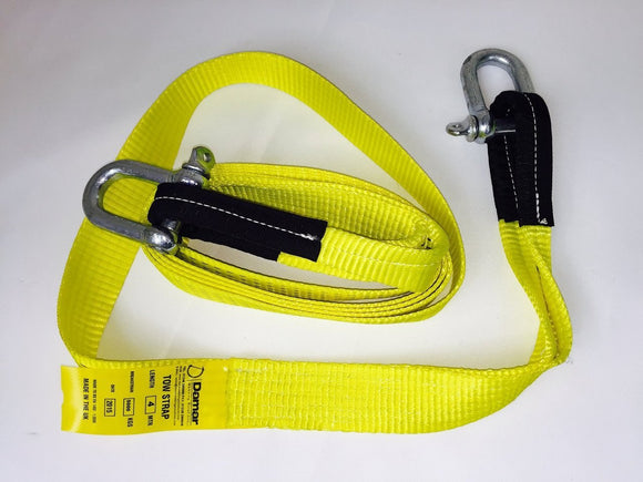 Tow Strap 5ton Heavy Duty 4mtr with 2 shackles - Damar Webbing Solutions Ltd