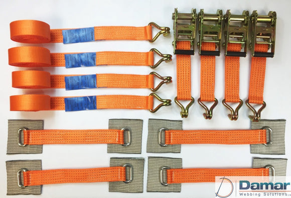 Vehicle Transporter Recovery Straps Orange Small Pad x 4 - Damar Webbing Solutions Ltd