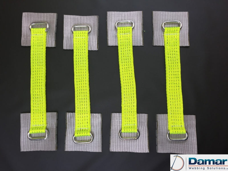 Vehicle Transporter Recovery Straps Hi Viz Yellow Small Pad x 4 - Damar Webbing Solutions Ltd