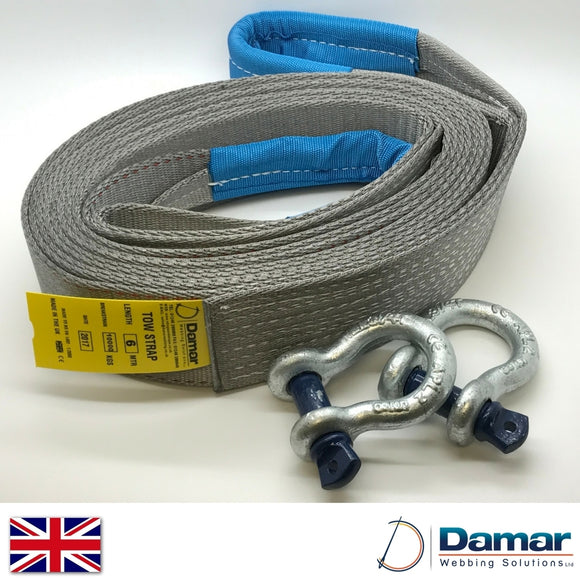 Tow strap 4x4 recovery 6mtr 10ton with 2 tested shackles - Damar Webbing Solutions Ltd