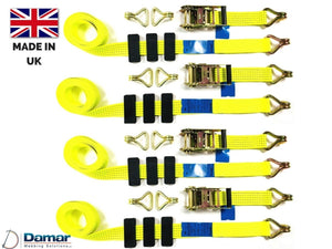 Recovery Ratchet ! HI-VISABILITY YELLOW ! Over Wheel Safety Straps Trailer 5ton - Damar Webbing Solutions Ltd