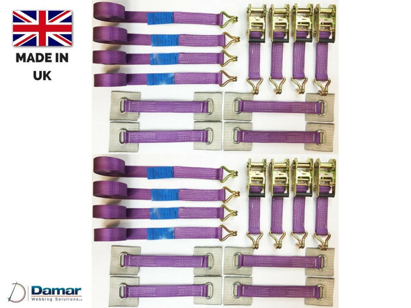 8 x Recovery Ratchet ! Purple ! Alloy Wheel Straps Trailer 5ton - Damar Webbing Solutions Ltd