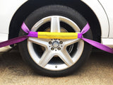 8 x Recovery Ratchet ! Violet ! Alloy Wheel Straps Trailer transporter 5ton - Damar Webbing Solutions Ltd