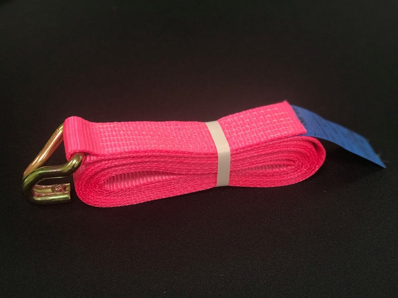 Recovery Ratchet Alloy Wheel Straps Trailer  x 4 Hi Vis PINK - Damar Webbing Solutions Ltd