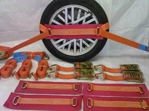 Vehicle Transporter Recovery Straps Orange Big Pad x 4 - Damar Webbing Solutions Ltd