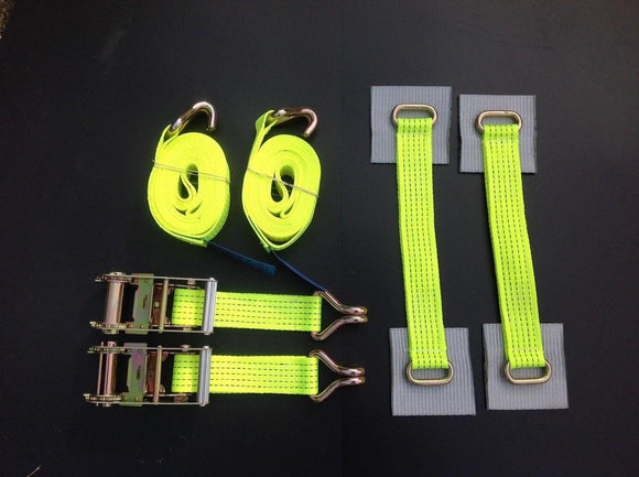 Recovery Ratchet ! HI-VISABILITY YELLOW ! Alloy Wheel Safety Straps Trailer x2 S - Damar Webbing Solutions Ltd