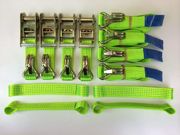 Recovery Ratchet HI-VIZABILITY GREEN Alloy Wheel Trailer 5ton Safety Hooks NEW - Damar Webbing Solutions Ltd